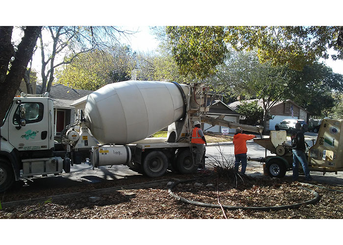 truck concrete mixture to fill all voids